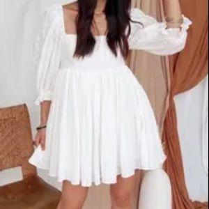 12th Tribe White Babydoll Shadow Gingham Dress
